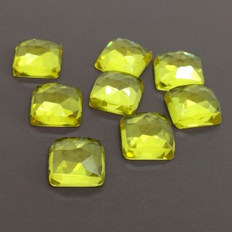 99.20 Cts. Lab Yellow Sapphire 12mm Rose Cut Square Cushion Shape Cabochon Parcel (8 Pcs.)