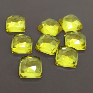 101.20 Cts. Lab Yellow Sapphire 12mm Rose Cut Square Cushion Shape Cabochon Parcel (8 Pcs.)