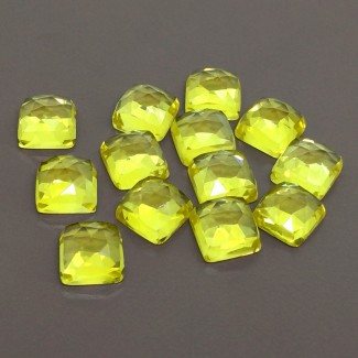109.25 Cts. Lab Yellow Sapphire 10mm Rose Cut Square Cushion Shape Cabochon Parcel (13 Pcs.)
