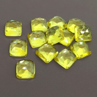 108.80 Cts. Lab Yellow Sapphire 10mm Rose Cut Square Cushion Shape Cabochon Parcel (13 Pcs.)