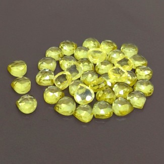 110.75 Cts. Lab Yellow Sapphire 8mm Rose Cut Heart Shape Cabochon Parcel (38 Pcs.)