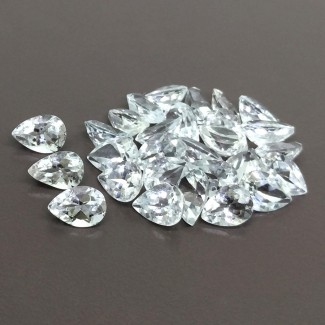 67.25 Cts. White Topaz 10x7mm Regular Cut Pear Shape Gemstone Parcel (28 Pcs.)