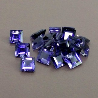 10.90 Cts. Iolite 5mm Step Cut Square Shape Gemstone Parcel (20 Pcs.)