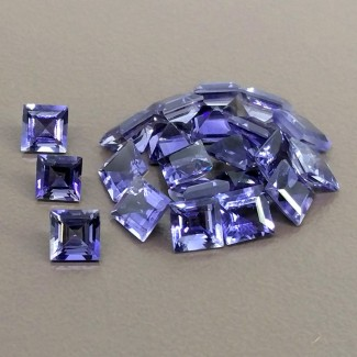 12.10 Cts. Iolite 5mm Step Cut Square Shape Gemstone Parcel (22 Pcs.)