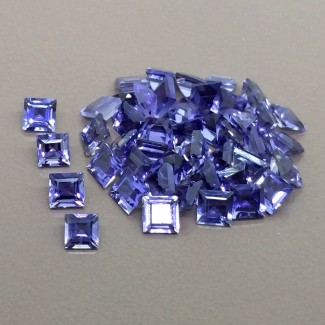 14.70 Cts. Iolite 4mm Step Cut Square Shape Gemstone Parcel (45 Pcs.)