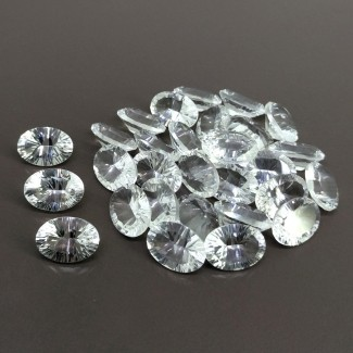 153.40 Cts. Crystal Quartz 14x10mm Diamond Cut Oval Shape Gemstone Parcel (30 Pcs.)