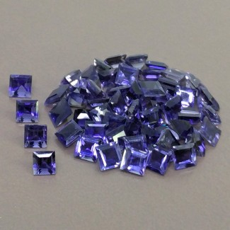 16.75 Cts. Iolite 4mm Step Cut Square Shape Gemstone Parcel (55 Pcs.)
