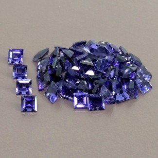 17.10 Cts. Iolite 4mm Step Cut Square Shape Gemstone Parcel (55 Pcs.)