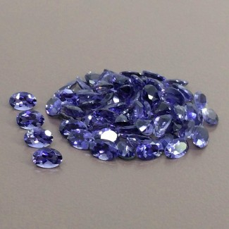 24 Cts. Iolite 6x4mm Regular Cut Oval Shape Gemstone Parcel (65 Pcs.)