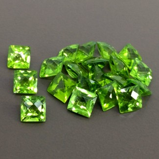 24.50 Cts. Peridot 6mm Checkerboard Square Shape Gemstone Parcel (20 Pcs.)