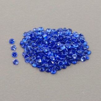 3.85 Cts. Lab Blue Sapphire 1.50mm Diamonds Cut Round Shape Gemstone Parcel (250 Pcs.)