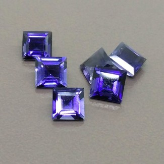 5.20 Cts. Iolite 6mm Regular Cut Square Shape Gemstone Parcel (6 Pcs.)