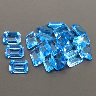 20 Cts. Swiss-Blue Topaz 6.5x4.5-7x5mm Step Cut Octagon Shape Gemstone Parcel (20 Pcs.)