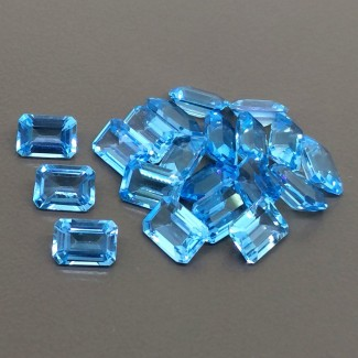 23.20 Cts. Swiss-Blue Topaz 7x5mm Step Cut Octagon Shape Gemstone Parcel (20 Pcs.)