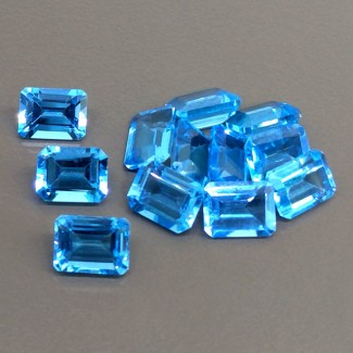 23.20 Cts. Swiss-Blue Topaz 8x6mm Step Cut Octagon Shape Gemstone Parcel (12 Pcs.)