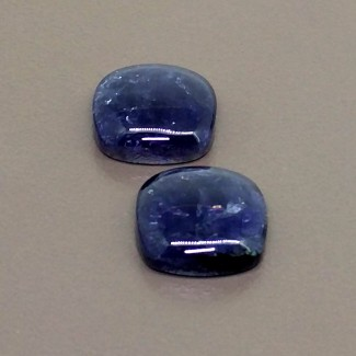 18.60 Cts. Iolite 14mm Smooth Square Cushion Shape Cabochon Parcel (2 Pcs.)