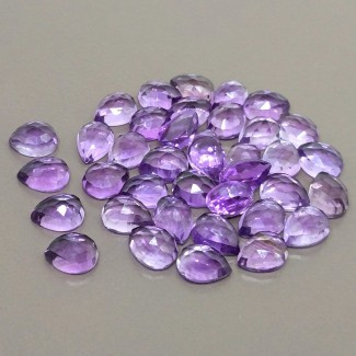 47.45 Cts. Brazilian Amethyst 7.5x6-9x6mm Rose Cut Pear Shape Cabochon Parcel (48 Pcs.)