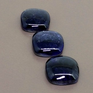 28 Cts. Iolite 14mm Smooth Square Cushion Shape Cabochon Parcel (3 Pcs.)