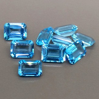 17.25 Cts. Swiss-Blue Topaz 7.5x5.5-8x6mm Step Cut Octagon Shape Gemstone Parcel (9 Pcs.)