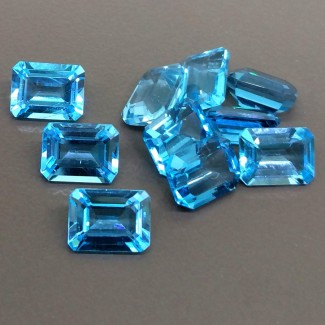 18.20 Cts. Swiss-Blue Topaz 8x6mm Step Cut Octagon Shape Gemstone Parcel (10 Pcs.)