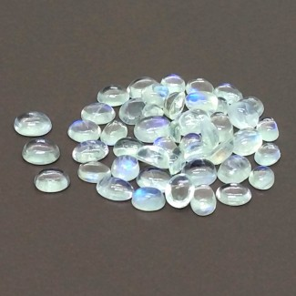 10.30 Cts. Rainbow Moonstone 5x3.5-3.5x2.5mm Smooth Oval Shape Cabochon Parcel (47 Pcs.)