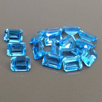 20.30 Cts. Swiss-Blue Topaz 7x5mm Step Cut Octagon Shape Gemstone Parcel (17 Pcs.)