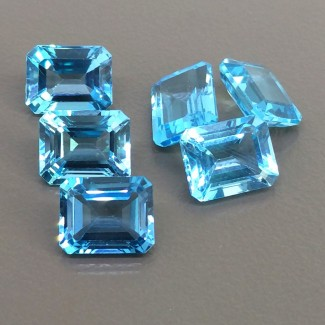 24.45 Cts. Swiss-Blue Topaz 10x8mm Step Cut Octagon Shape Gemstone Parcel (6 Pcs.)