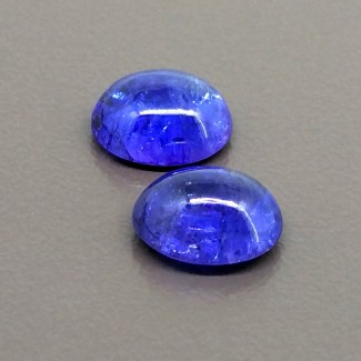 9.40 Cts. Tanzanite 11x9mm Smooth Oval Shape Cabochon Parcel (2 Pcs.)