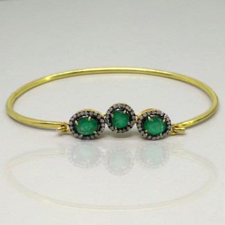 Emerald and Diamonds 925 Sterling Silver Bracelet