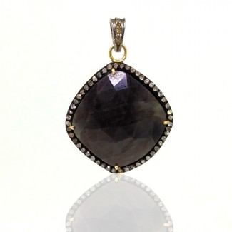 Sapphire and Diamonds 925 Sterling Silver Pendant