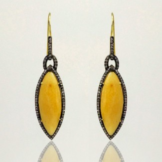 Yellow Sapphire and Diamonds 925 Sterling Silver Earring