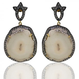 Solar Quartz and Diamond White CZ 925 Sterling Silver Earring