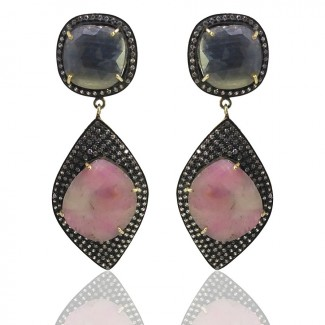Multi Sapphire and Diamond White CZ 925 Sterling Silver Earring