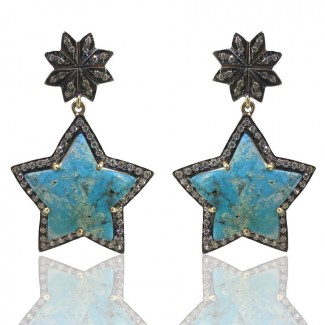 Turquoise and Diamond White CZ 925 Sterling Silver Earring