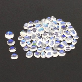 12.45 Cts. Rainbow Moonstone 2.5x1.5-4.5x3.5mm Smooth Oval Shape Cabochon Parcel (71 Pcs.)