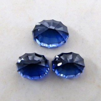 60.35 Cts. Lab Blue Sapphire 18.5x14-16x12mm Fancy Shape Gem Set