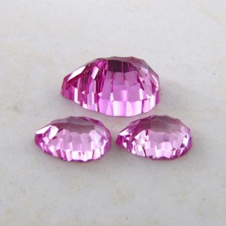23.70 Cts. Lab Pink Sapphire 18.5x12.5-12.5x8mm Fancy Shape Gem Set