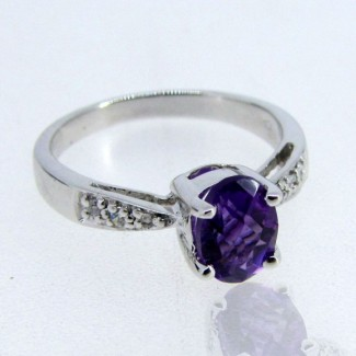 African Amethyst and Diamond White CZ 925 Sterling Silver Ring