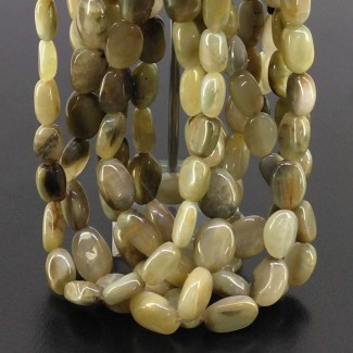Cats Eye 10-20mm Smooth Oval Shape 16 Inch Long Gemstone Beads (Total 7 Strands)