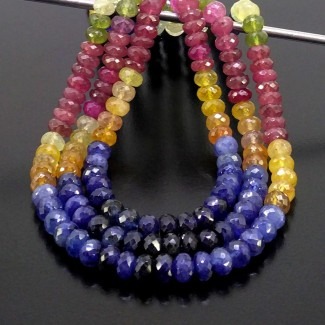 Multi Sapphire 6.5-7.5mm Faceted Rondelle Shape 19 Inch Long Gemstone Beads (Total 3 Strands)