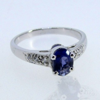 Iolite and Diamond White CZ 925 Sterling Silver Ring