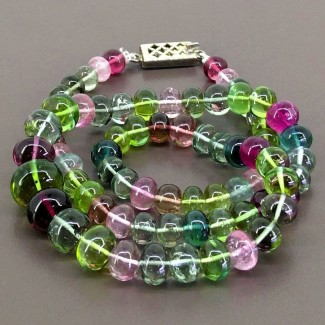 Multi-Color Tourmaline 7-12.5mm Smooth Rondelle Shape 19 Inch Long Gemstone Beads (Total 1 Strands)