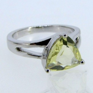 Lemon Quartz 925 Sterling Silver Ring