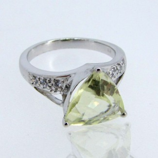 Lemon Quartz and Diamond White CZ 925 Sterling Silver Ring