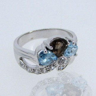 Multi Stones and Diamond White CZ 925 Sterling Silver Ring