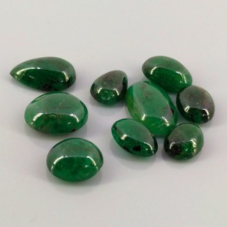 35.45 Cts. Emerald 2.25-6.25carat Mixed Shape Cabochon Parcel (9 Pcs.)