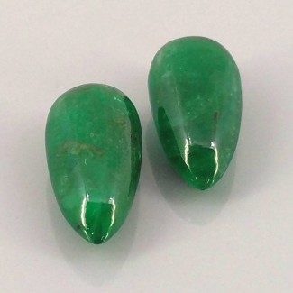 Emerald 16x8mm Smooth Drops Shape Briolette Pair