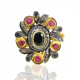 Multi Stones and Diamond 925 Sterling Silver Ring