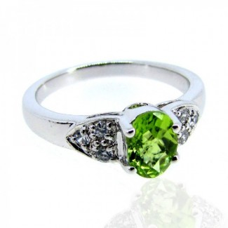 Peridot and Diamond White CZ 925 Sterling Silver Ring