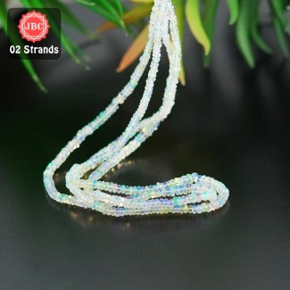 Ethiopian Welo Opal 2.5-4mm Smooth Rondelle Shape 15 Inch Long Gemstone Beads - Total 2 Strands In The Lot - SKU:156810